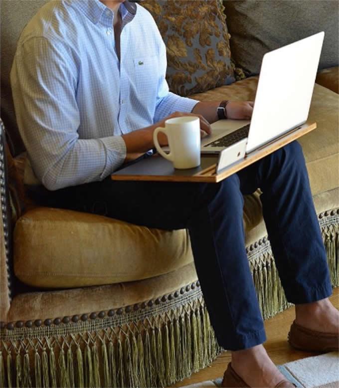 Bamboo Laptop Mobile Lap Desk,Fits 15