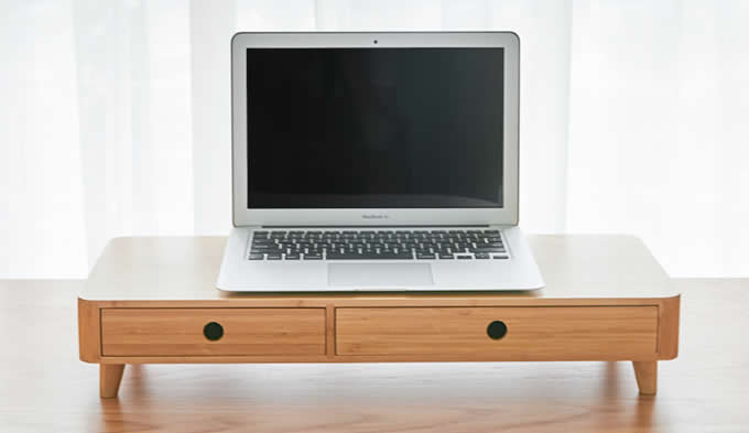 Bamboo Monitor Stand Monitor Riser With Pull Out Drawer