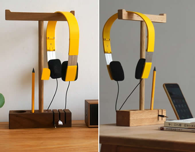Black Walnut Wooden Dual Headphone Hanger Pen Holder Cord Cable Clip Holder Management System