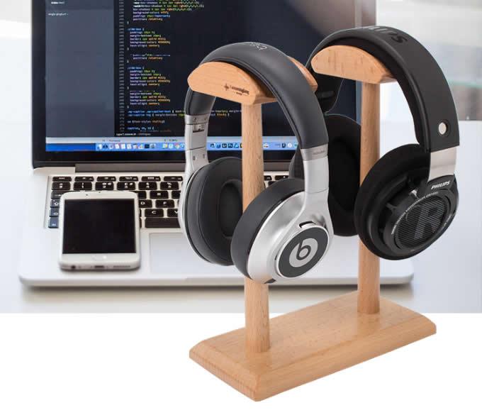 Universal Black Walnut Wooden Dual Headphone Stand Hanger