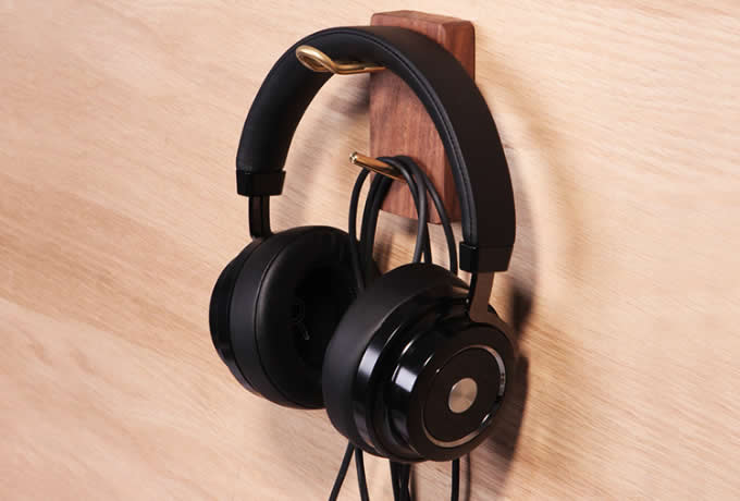 Universal Wooden Brass Headphone Wall Mount- Stand Hanger with Cable Holder
