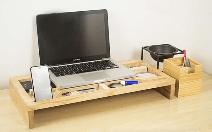 Wooden Computer Monitor Stand Riser Laptop Stand And