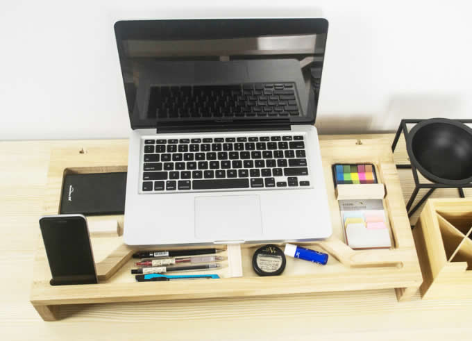 Wooden Computer Monitor Stand Riser   Laptop Stand And Desk Organizer With Keyboard  Storage