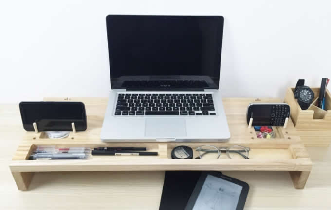 Wooden Computer Monitor Stand Riser - Laptop Stand and Desk Organizer with Keyboard Storage