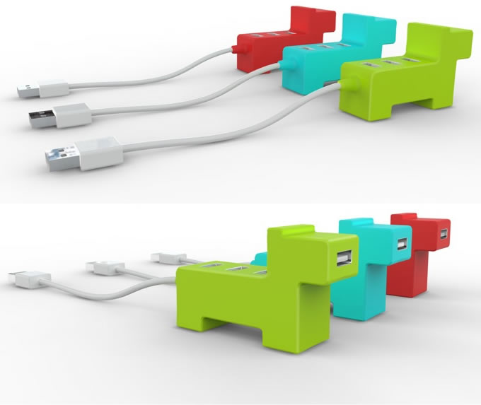 Little DOG USB 4-Port Hub