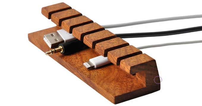 Wooden Cable Organizer Cord Management System Holder for Power Cords and Charging Cables