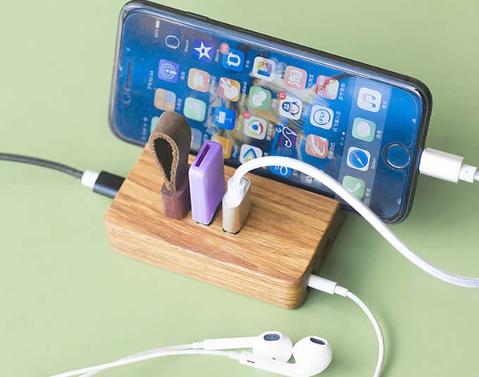 Wooden 3-Port USB Desktop Charger with Stand for All Phones