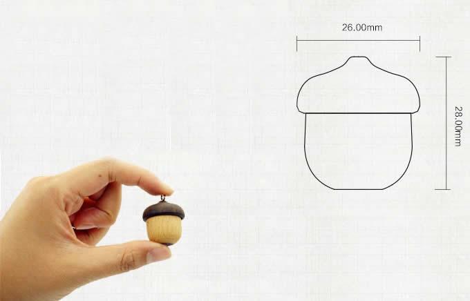Acorn-Shaped Mini Wood USB Flash Drive