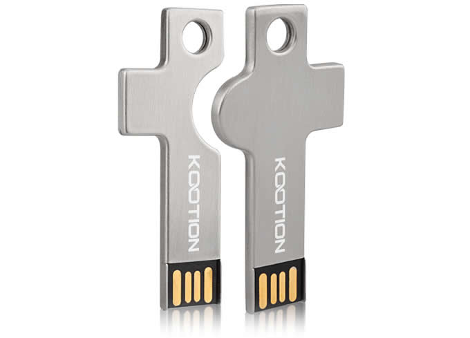 Customize Logo/Name Metal Key Shaped USB Flash drive, Set of 2