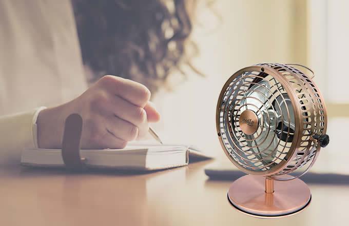 Retro Metal USB Fan,Bronze