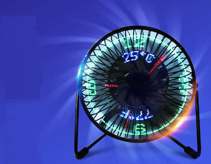 USB Portable Desktop LED Clock Fan  With Real Time and Temperature Display