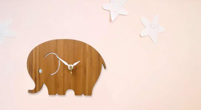 Bamboo Wood Elephant Wall Clock