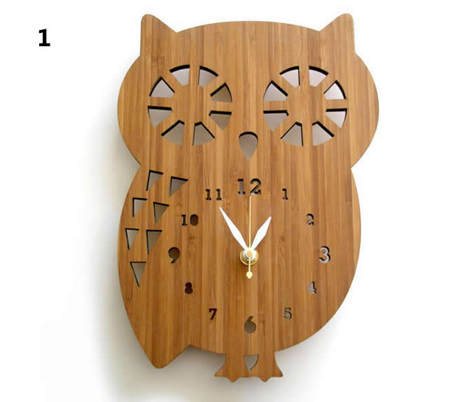 Bamboo Wood OWL Wall Clock