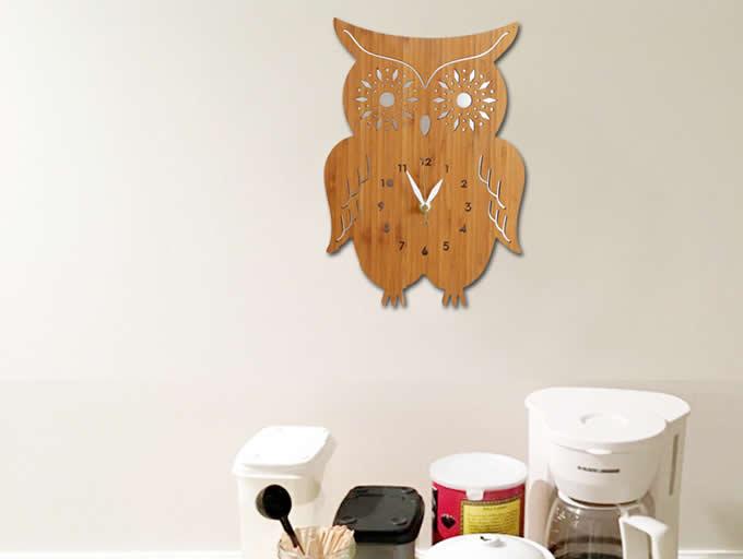 Bamboo Wood OWL Wall Clock