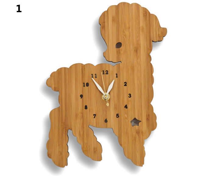 Bamboo Wood Sheep Wall Clock