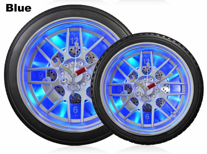 Blue LED Tire Wall Clock,Desk Clock