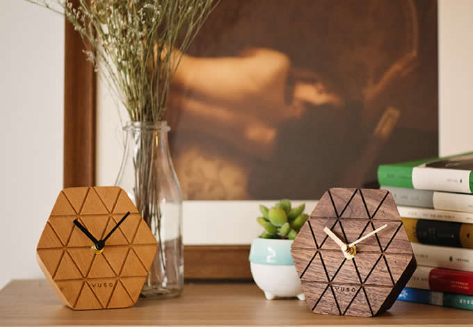 Handmade Beech Wood hexagonal Table Alarm Clock