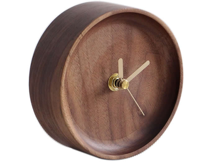 Handmade Black Walnut Round Table Alarm Clock