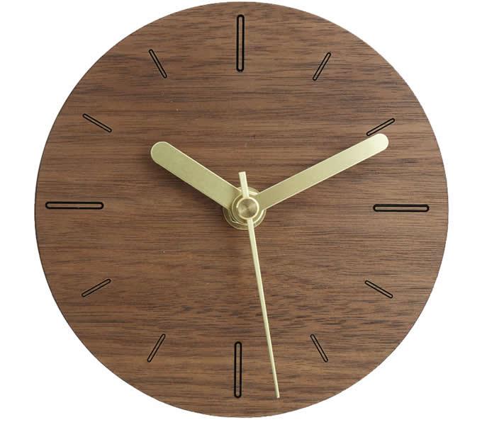 Handmade Black Walnut Wood Round  Silent Desk  Clock