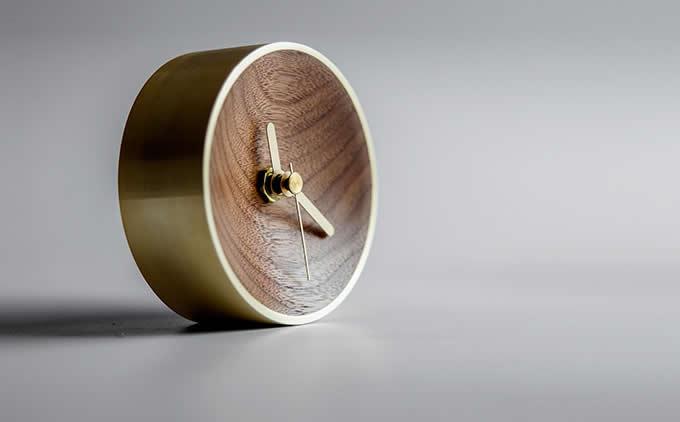 Handmade Nautical Wood & Brass Desk Clock