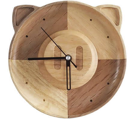 Handmade Wooden Wood Pig Wall Clock