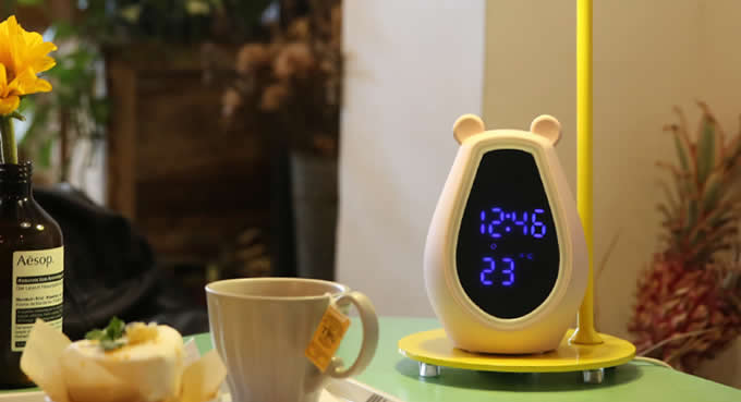 Portable  Bluetooth Speaker with Alarm Clock and LED Makeup Vanity Mirror