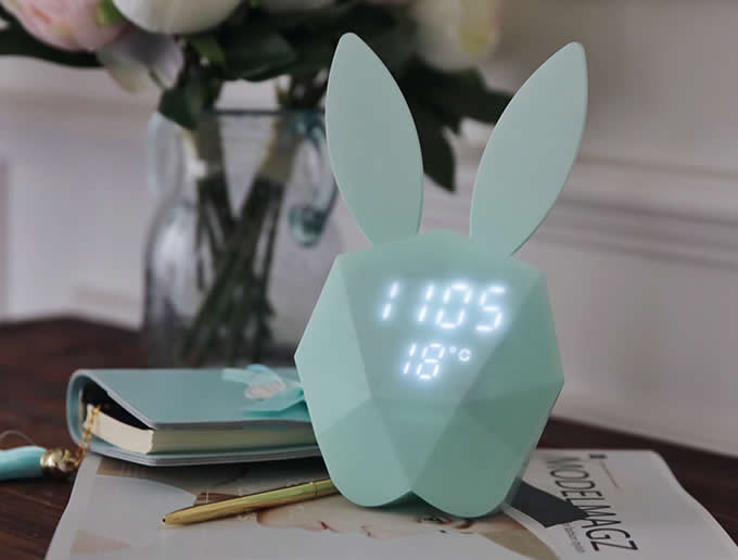Portable Rechargeable Rabbit Clock with LED Night Light