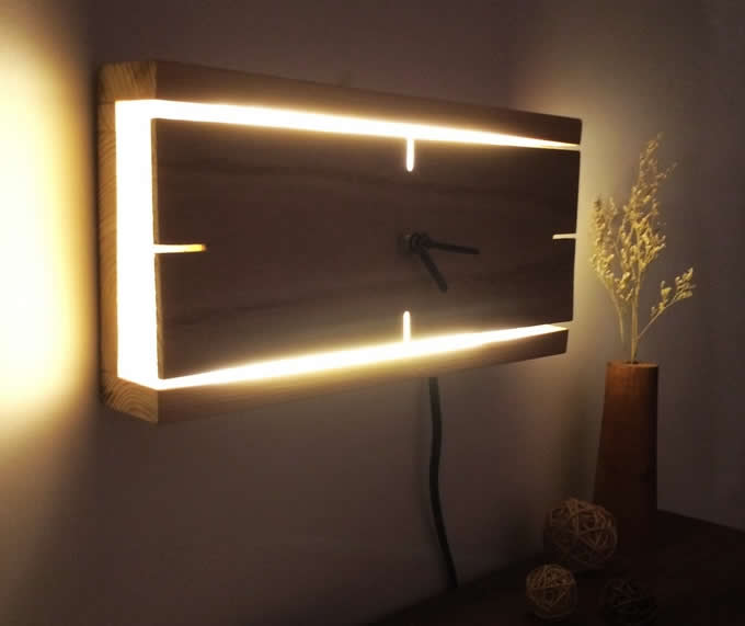 Rectangle Wooden Wall Clock With Led Night light