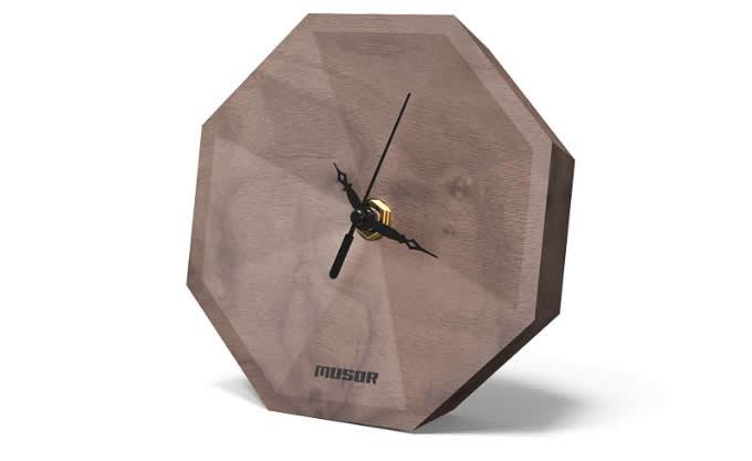 Simple Modern Black Walnut Wood Desk Clock