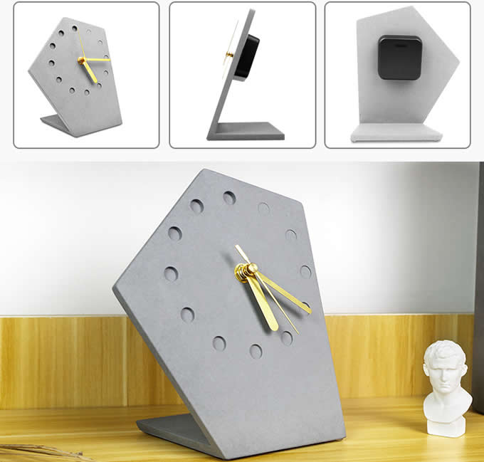 Solid Concrete Geometric Desk Clock