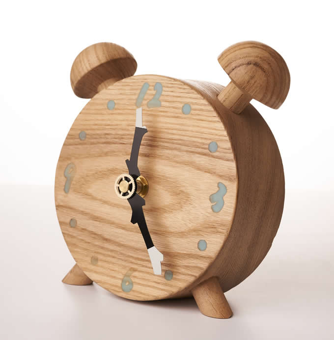 Twin Bell Wooden Alarm Clock