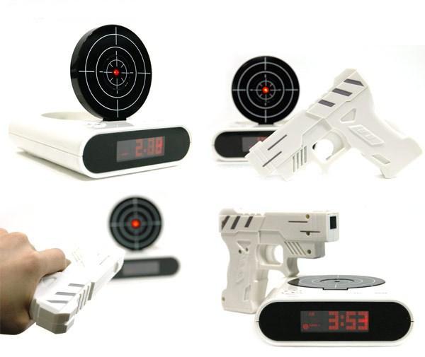 Gun Alarm Clock Target Wake Up Shooting Game Toy Novelty: White Gun O'Clock Shooting Alarm Clock