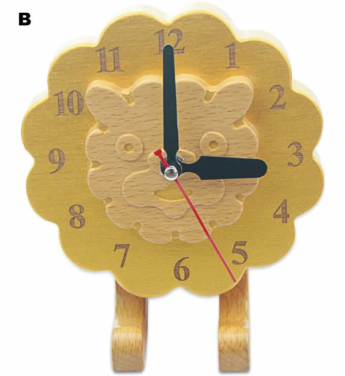 Wood Lion Desk Clock