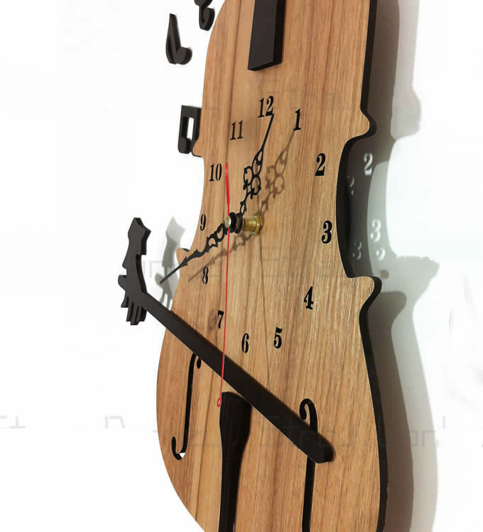 Wooden Guitar Shaped Wall Clock Feelgift
