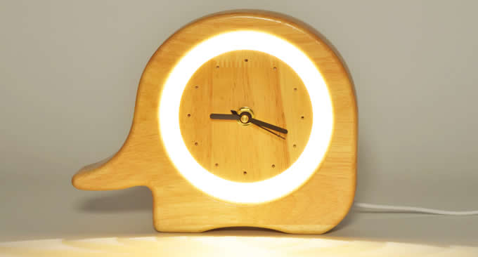 Wooden Silent Desk Alarm Clock with Nightlight
