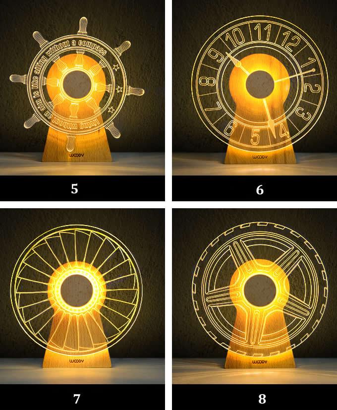 3D Wood  Night Light LED Optical Night Lamps