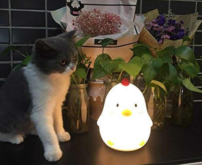 Chicken Adjustable Brightness Night Light Bedside Headlight Lamp Wake Up Alarm Clock