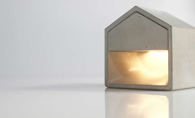 Concrete Finish House Shaped Usb Cement Table Lamp Feelgift