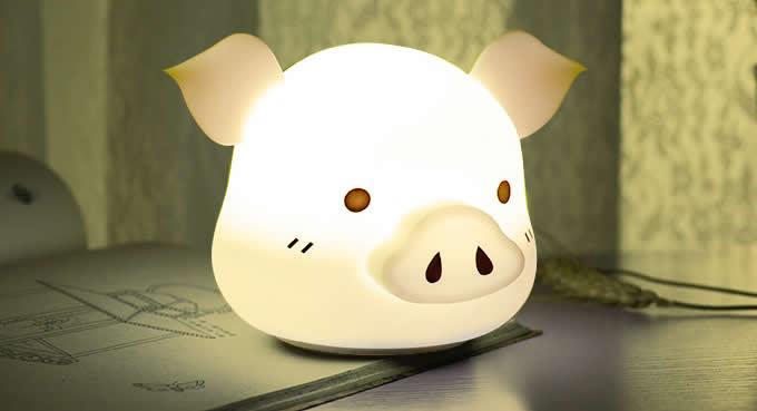 Cute Pig USB Rechargeable Children Night Light