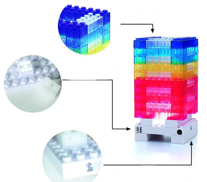 Usb Diy Building Block Style Touch Sensor Desk Lamp Feelgift