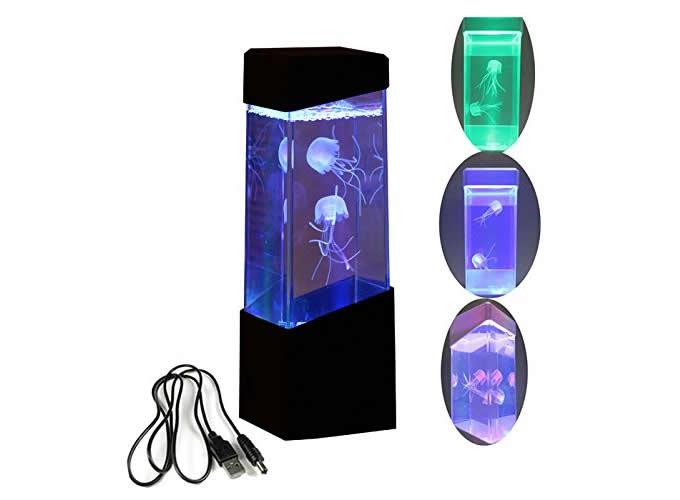 Led Mini Desk jellyfish Fish Aquarium Lamp