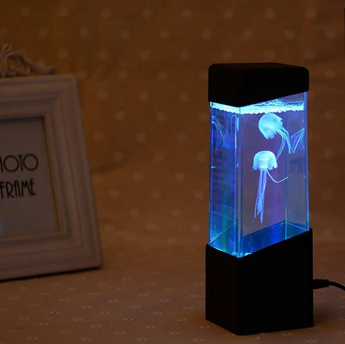 Led Mini Desk Jellyfish Fish Aquarium Lamp Feelgift