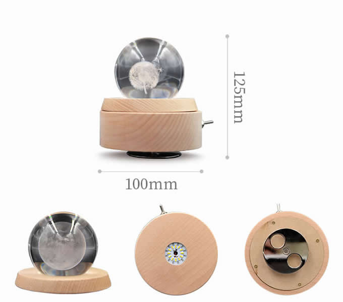 Modern Home Decoration Crystal Ball Music Box With 360 Degree Rotation Base