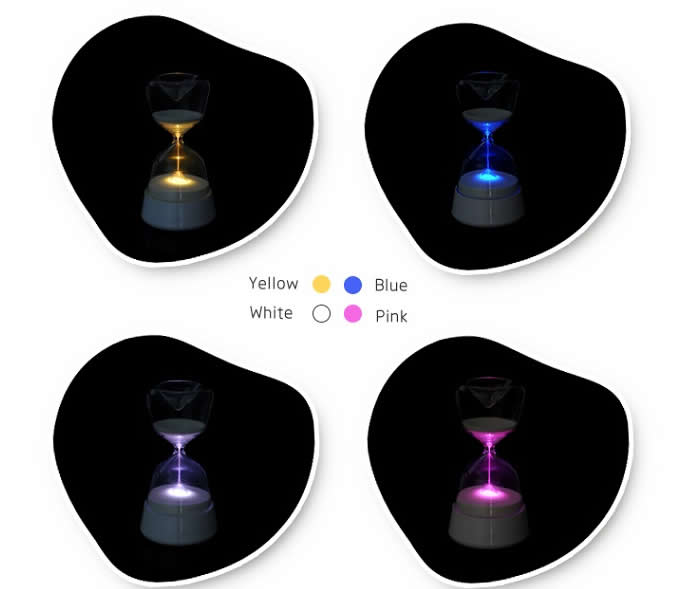 Touchable 4 Colour Sandglass Hourglass LED Night Light for Sleep Better