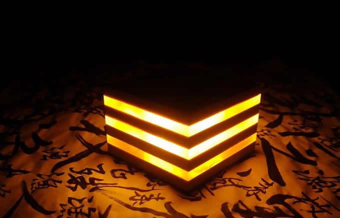 Wooden USB Mini Cube Table Lamp