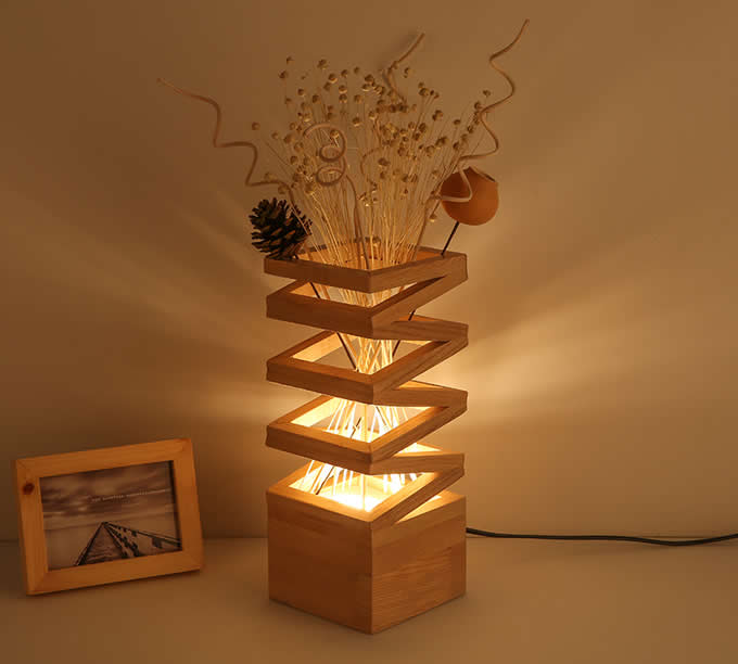 Wooden Table Lamp Modern Style Hardwood Bedroom Living