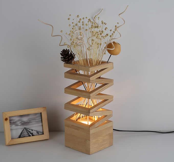 Wooden Table Lamp Modern Style Hardwood Bedroom Living Room Bedside Desk Lamp