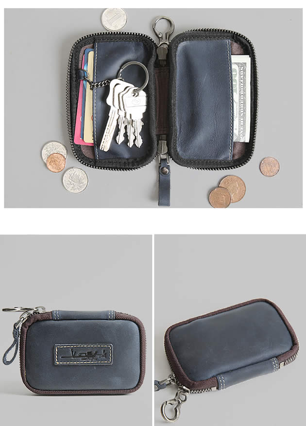 Classic Easy To Carry Handmade Leather Cowhide Key Bank Card Organizer Small Wallet