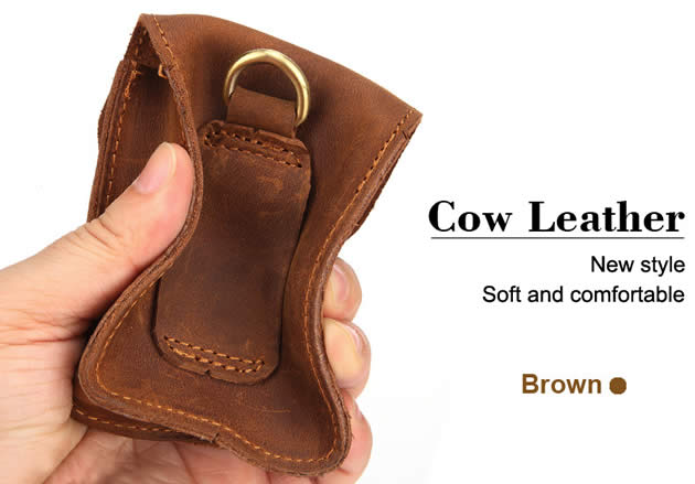 Classic Outdoor Men's Cowhide Leather Waist Pack Cigarette Storage Bag