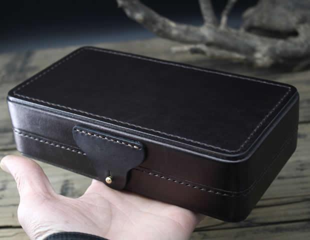 Classic Top Layer Cowhide Mini Suitcase Bank Card Organizer Wallet Pencil Case Storage Bag